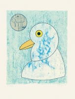 Max Ernst: Nous sommes la somme de nos envergures aus Vögel in Gefahr, signiert, Farbaquintaradierung mit Collage 1975